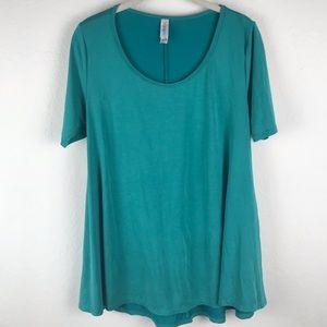 Lularoe Teal Blue Green Perfect Tee T-shirt SOLID